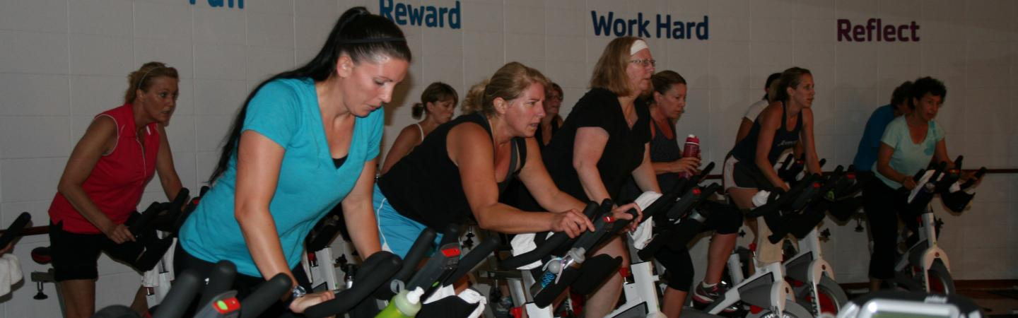 Cycling class at the Southeast Y Cycling Studio in Bloomington, Indiana