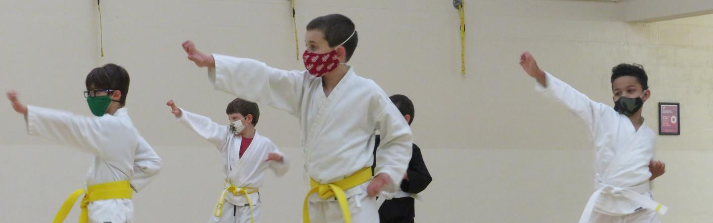 Youth strike a pose during a Martial Arts class at the Y