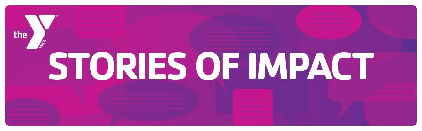 Stories of Impact, in white text over purple and pink background